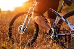 Ноги человека велосипедиста ехать горный велосипед на внешнем следе в лесе осени Стоковое Изображение