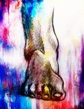 Ноги человека чертежа искусства и предпосылка белой бумаги Влияние цвета Стоковые Фото
