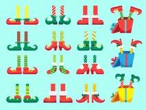 Ноги эльфа рождества Ботинки для эльфов ноги, хелперов Санта Клауса dwarf нога в брюках Настоящий момент Xmas и изолированный под иллюстрация штока
