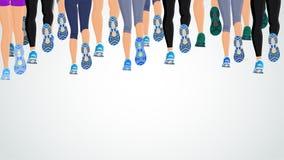 Ноги людей группы идущие иллюстрация вектора