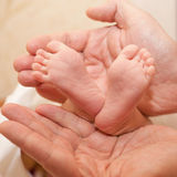 Ноги Newborn младенца в больших руках Стоковые Изображения