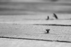 Ноготь на деревянной плите стоковые фотографии rf