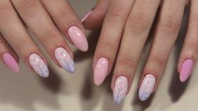 Ногти дизайна маникюра чувствительные от женщины Стоковая Фотография RF