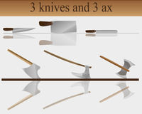 3 ножи и оси 3 Стоковое Изображение