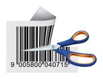 ножницы вырезывания кода штриховой маркировки Стоковые Изображения