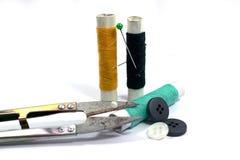 ножницы игл резьбу текстуры катышкы продели нитку инструменты Стоковое фото RF