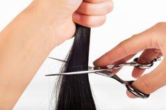 Ножницы и волосы Стоковые Фотографии RF