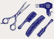 Ножницы и гребень для волос иллюстрация вектора