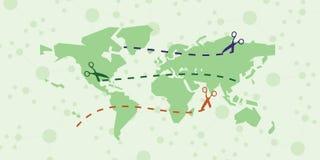 Ножницы карты мира Стоковые Изображения RF
