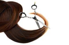 Ножницы на человеческих волосах Стоковое Изображение RF
