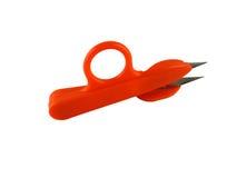 Ножницы оранжевого цвета для needlework, вышивки, вязать, o стоковые фото