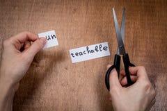 Ножницы режа отрицательный ярлык, концепцию мотивировки собственной личности Стоковое Изображение