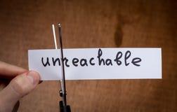 Ножницы режа отрицательный ярлык, концепцию мотивировки собственной личности Стоковая Фотография RF