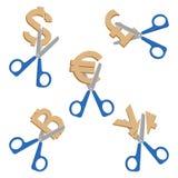Ножницы режа символы валют на иллюстрации вектора иллюстрация вектора