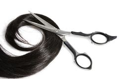 ножницы черных волос Стоковые Изображения