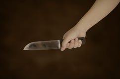 Нож в руке женщины Стоковые Изображения