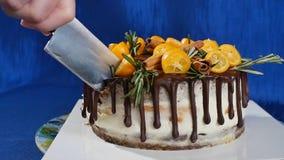 Нож режет торт с клубниками и голубики закрывают вверх Резать торт клубники с ножом Клубника плодоовощ Стоковое Изображение RF