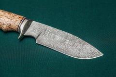 Нож стали Дамаска звероловства handmade на зеленой ткани стоковое изображение