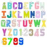 номера алфавитов цветастые иллюстрация штока