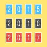 Номера года табло изолированные на желтом цвете иллюстрация вектора