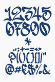 Номера и символы - шрифт граффити - вручают написанный Стоковое Изображение RF