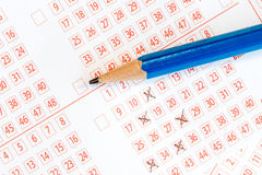 Номера маркировки на билете лотереи Стоковые Фото