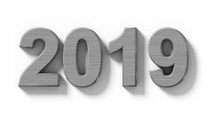 Номера металла 3d года 2019 при тень изолированная на бело- орто иллюстрация штока