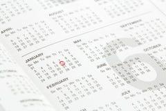 номера на странице календаря Стоковая Фотография