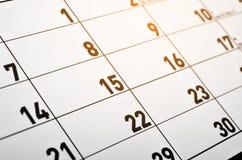 номера на странице календаря Стоковое фото RF