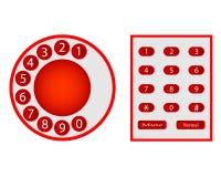 Номера от диска и кнопки телефонов Стоковые Изображения RF