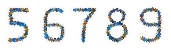 Номера сделанные головоломки соединяют - концепцию образования стоковые фотографии rf