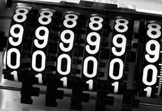 Номера сетноого-аналогов метра с надписью 999999 Стоковое фото RF