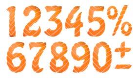 Номера суш устанавливают, Vector иллюстрацию искусства зажима Стоковое фото RF