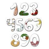 Номера с символами иллюстрации шаржа вектора Нового Года рождества бесплатная иллюстрация