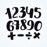 Номера установленные в нарисованный рукой стиль каллиграфии Элементы шаблона дизайна вектора Стоковое Изображение