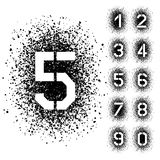 Номера шрифта восковки брызга угловые Стоковая Фотография RF