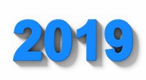 Номера 3d года 2019 голубые при тень изолированная на бело- orthog иллюстрация штока