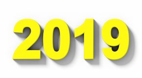 Номера 3d года 2019 желтые при тень изолированная на бело- orth иллюстрация штока
