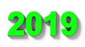 Номера 3d года 2019 зеленые при тень изолированная на бело- орто иллюстрация штока