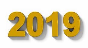 Номера 3d года 2019 золотые при тень изолированная на бело- orth иллюстрация штока