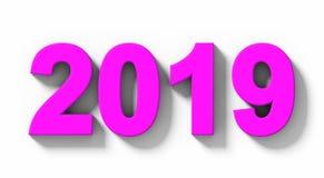 Номера 3d года 2019 фиолетовые при тень изолированная на бело- orth иллюстрация вектора