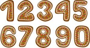 Номера Gingerbread Стоковые Изображения