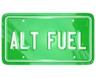 Номерной знак зеленого цвета энергии силы топлива Alt альтернативный Стоковое Изображение