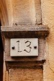 Номерной знак 13 домов Стоковая Фотография RF