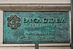 Номерной знак штабов Государственного банка Италии в Риме стоковые фото