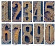 10 номеров в типе древесины letterpress Стоковая Фотография