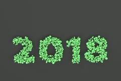 2018 номеров от зеленых шариков на черной предпосылке Стоковые Изображения RF