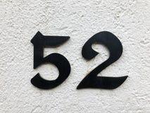 Номер адреса улицы с крупным планом 52 стоковая фотография rf
