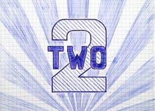 Номер два на листе checkered бумаги Стоковое Изображение RF