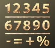 Номер вектора золотой с лампами шарика Стоковое Изображение
